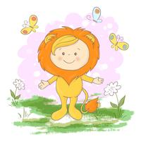 Postcard cute lion cub flowers and butterflies. Cartoon style vector