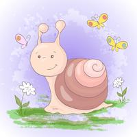 Illustration of cute cartoon snail flowers and butterflies. Vector