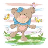 Postcard cute teddy bear flowers and butterflies. Cartoon style
