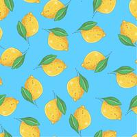Seamless pattern yellow lemons on a blue background. Vector illustration