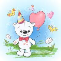 Postcard print party birthday polar bear in a cap with balloons. Cartoon style.