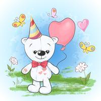 Vykorttryck fest födelsedagsbjörn i en mössa med ballonger. Tecknad stil.