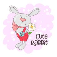 Postcard cute rabbit with flowers. Cartoon style. Vector