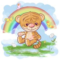 Postcard cute tiger cub on the background of the rainbow. Cartoon style