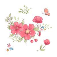 Conjunto de flores silvestres e borboletas vermelhas. Desenho à mão. Ilustração vetorial