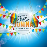 Festa Junina Illustration with Party Flags and Paper Lantern on Blue Cloudy Sky Background. Vector Brazil June Festival Design