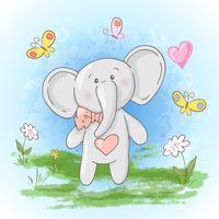 Tarjeta postal lindas pequeñas elefantes flores y mariposas. Estilo de dibujos animados