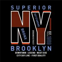 Bronx, Brooklyn, New- Yorkelement, grafisches T-Shirt Druckvektor-Illustration desigs der Weinlese