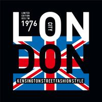 T-shirt design typographie Londres imprimé graphique