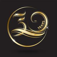 golden 30th anniversary sign and logo for gold celebration symbol