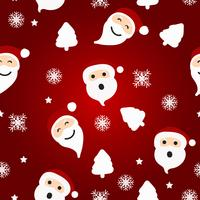 Seamless Christmas pattern with Santa and tree on red background
