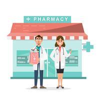 farmácia com médico e enfermeira na frente de farmácia