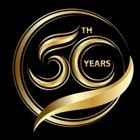 golden 50th anniversary vector