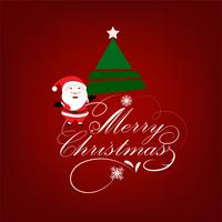 Christmas Greeting background with Santa Claus and Christmas tree