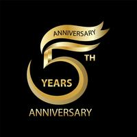 golden 5th anniversary sign and logo for gold celebration symbol vector
