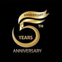Signo de oro quinto aniversario y logotipo para el símbolo de la celebración de oro