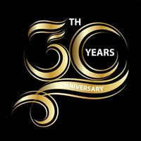 golden 30th anniversary sign and logo for gold celebration symbol vector