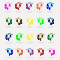 colorful set of cubic logo and arrow vector