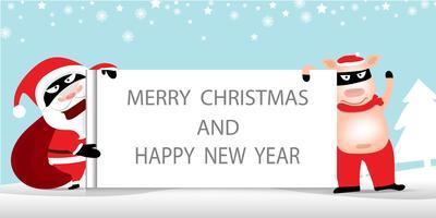 Lustige Diebe wie Santa Claus und Santa Pig, die Anschlagtafel, frohe Weihnachten und guten Rutsch ins Neue Jahr halten