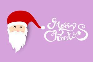 Fondo de Navidad con Papá Noel sobre fondo de color violeta pastel suave