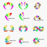 various and colorful logo design set vector: concept in fly and wing for wisdom