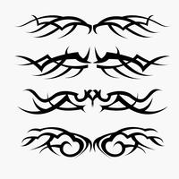Patterns of tribal tattoo set. concept in gothic having wing and fly