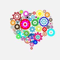 vário e colorido vector de máquinas em estilo de coração para dia dos namorados