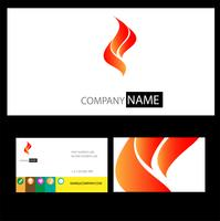 red wing and fire logo on business card