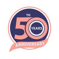 50 th anniversary sign and logo celebration  vector