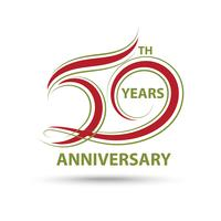 Red 50th anniversary sign and logo for celebration symbol