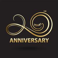 golden 20th anniversary logo and sign, gold celebration symbol  vector