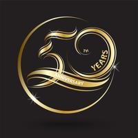 golden 50th anniversary sign and logo for gold celebration symbol vector