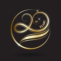 Oro 20 aniversario logotipo y signo, símbolo de celebración de oro