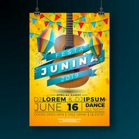 Festa Junina Party Flyer Illustration with Typography Design and Acoustic Guitar. Flags and Paper Lantern on Yellow Background. Vector Brazil June Festival Design