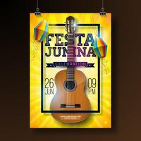 Festa Junina Party Flyer Illustration with Typography Design and Acoustic Guitar. Flags and Paper Lantern