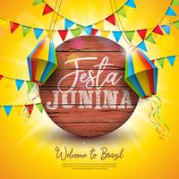 Festa Junina Illustration with Party Flags and Paper Lantern on Yellow Background. Vector Brazil June Festival Design