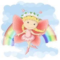 Ilustración de la postal de una pequeña hada linda en el fondo del arco iris y de las nubes. Estampado en ropa y habitación infantil.