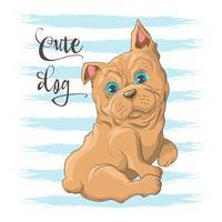 Briefkaartillustratie van een leuke kleine hondbuldog. Afdrukken op kleding en kinderkamer