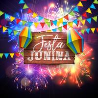 Festa Junina Illustration with Flags and Paper Lantern on Firework Background. Vector Brazil June Festival Design