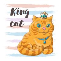 Illustration of a cat in a crown on his head. Print for clothes or childrens room