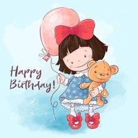 Nettes Karikaturmädchen der Illustrationspostkarte mit einem Ballon und einem Spielzeug. Drucken Sie für Kleidung oder Kinderzimmer