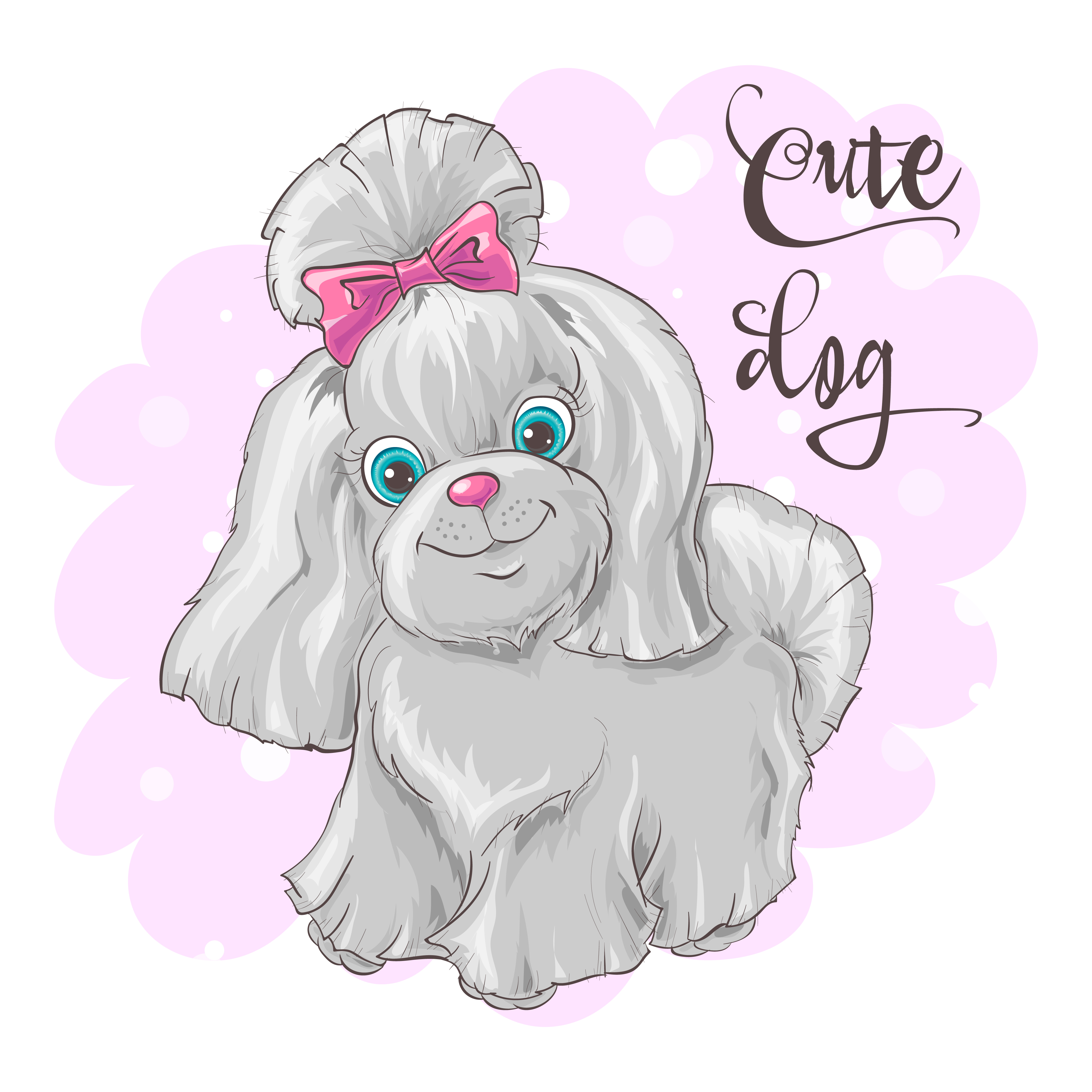 Illustration Of A Cute Little Dog Print For Clothes Or Children