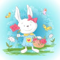 Illustration postcard cute cartoon bunny with flowers and butterflies. Print for clothes or children's room.
