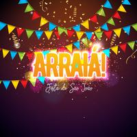 Festa Junina Illustration with Party Flags and Typography Letter on Confetti Background. Vector Brazil June Festival Design