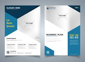 Modern blue brochure of hexagon template design background. illustration vector eps10