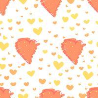 Hjärta abstrakt mönster bakgrund, Love doodle stil mönster, Vektor illustration.
