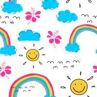 Sommermusterhintergrund mit Wolken und Sonne, Hand gezeichnetes tropisches Muster, Vektorillustration.