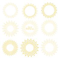 Ensemble de style sunburst doré isolé sur fond blanc, illustration vectorielle de rayons de rupture.