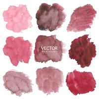 Set of red watercolor background, Brush stroke logo, Vector illustration.