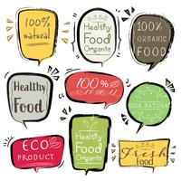 Set of banner ECO product, Natural, Vegan, Organic, Fresh, Healthy food. Vector illustration.